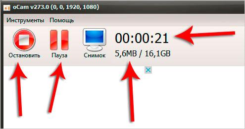 Кнопки управления в программе для записи экрана