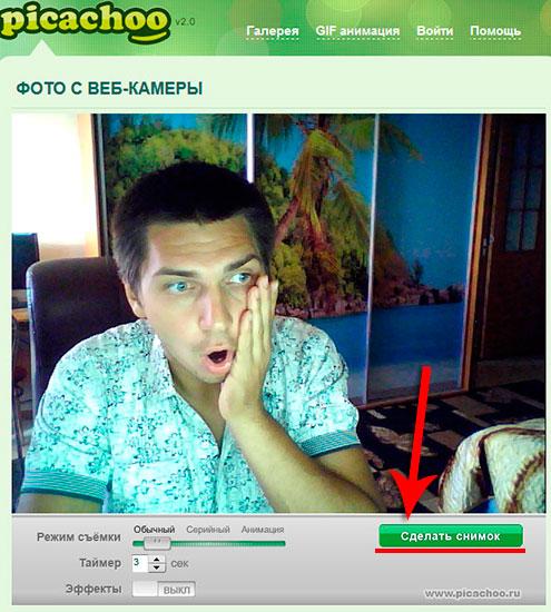 сделать снимок с веб камеры онлайн