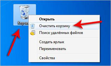 Очистка корзины от ненужных файлов